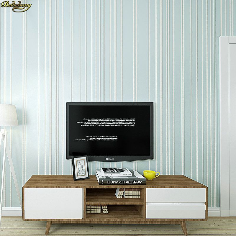 beibehang Modern minimalist plain solid striped non-woven wallpaper Nordic style living room bedroom TV background wall paper