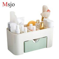 Msjo maquillaje caja organizador joyería uñas pendiente de plástico caja de almacenamiento de escritorio organizador para cosméticos