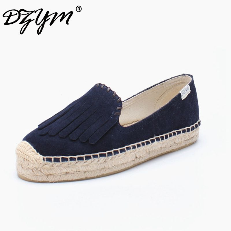 DZYM 2018 Top Quality Fashion Design Canvas Espadrille Cow Suede Women Flats Platform Tassels Loafers Fringe Sapato Feminino
