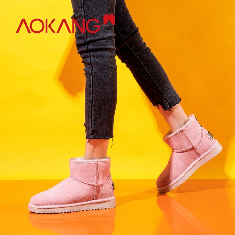 AOKANG 2018 Winter Snow Boots Women Cow Suede Warm Plush Insole Black Boots zapatos de hombre boots Comfortable Round Toe Boots