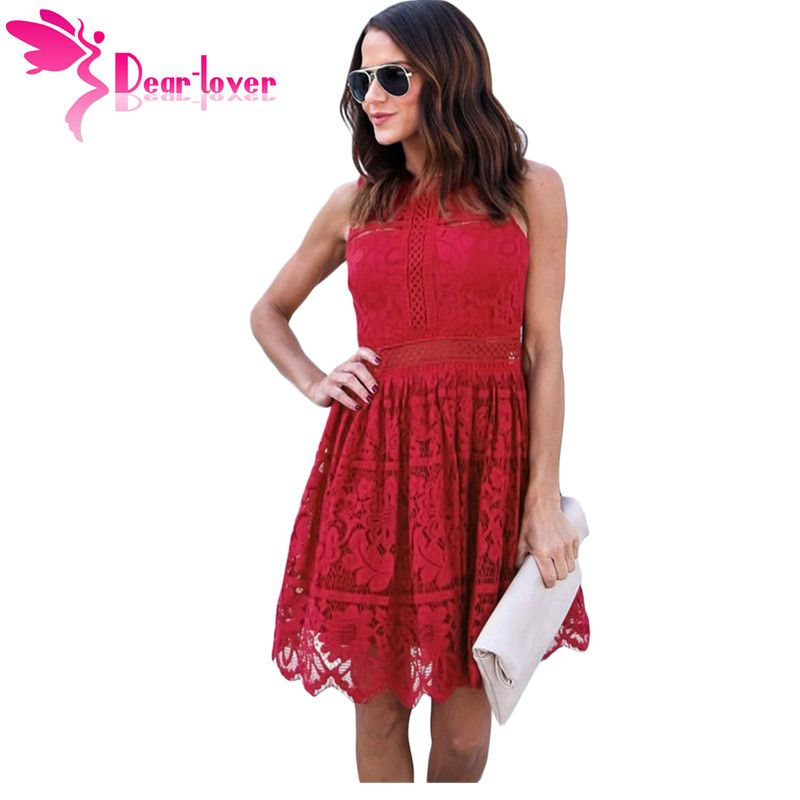 Dear Lover party dress Solid Burgundy Sleeveless Crochet Lace Mini Skater Dress Casual vestidos mujer verano Brand 2018 LC220262