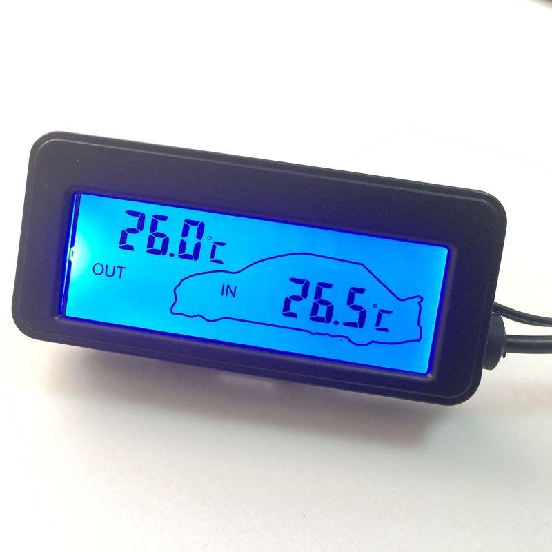 DC 12 V Numérique Voiture Thermomètre Noir Mini LCD De Voiture Intérieur Extérieur Température Mètre Moniteur Bleu Rétro-Éclairé Avec 1.5 M câble Capteur
