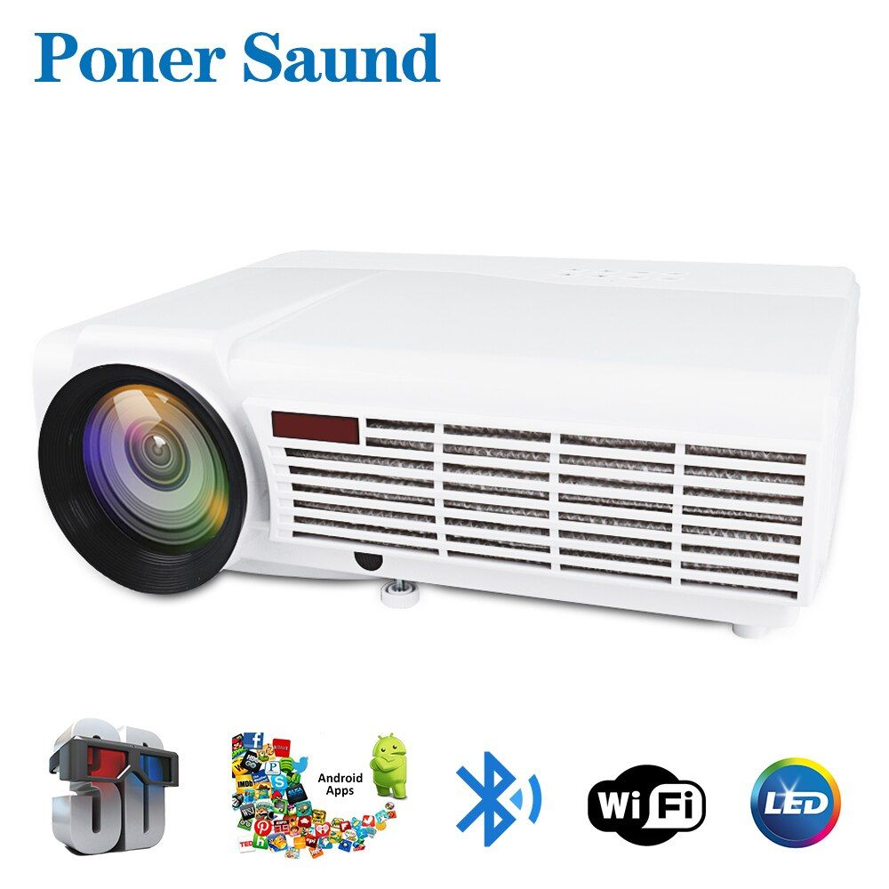 Poner Saund LED 96 Full HD Projektor Heimkino Optional Android 6.0 Bluetooth WIFI Unterstützung HD 1080 p HDMI USB VGA LCD Beamer