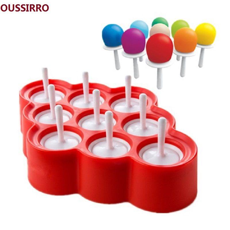 Mignon Silicone Mini glace Pop moule glace boule Lolly Maker Popsicle moules avec 9 autocollants Popsicle moules glace moule glace Pop