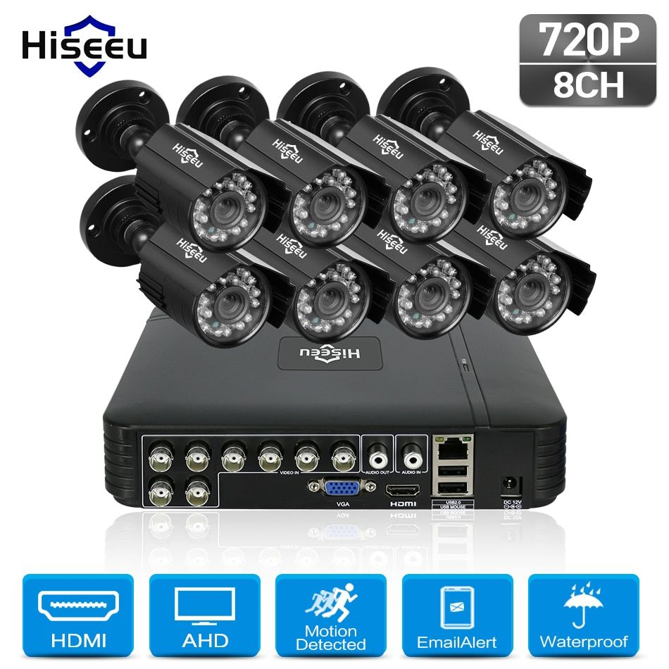 Hiseeu 8CH 720P CCTV Camera system 8pcs 1.0MP waterproof Outdoor Surveillance Security Camera CCTV DVR Kit AHD Camera Set