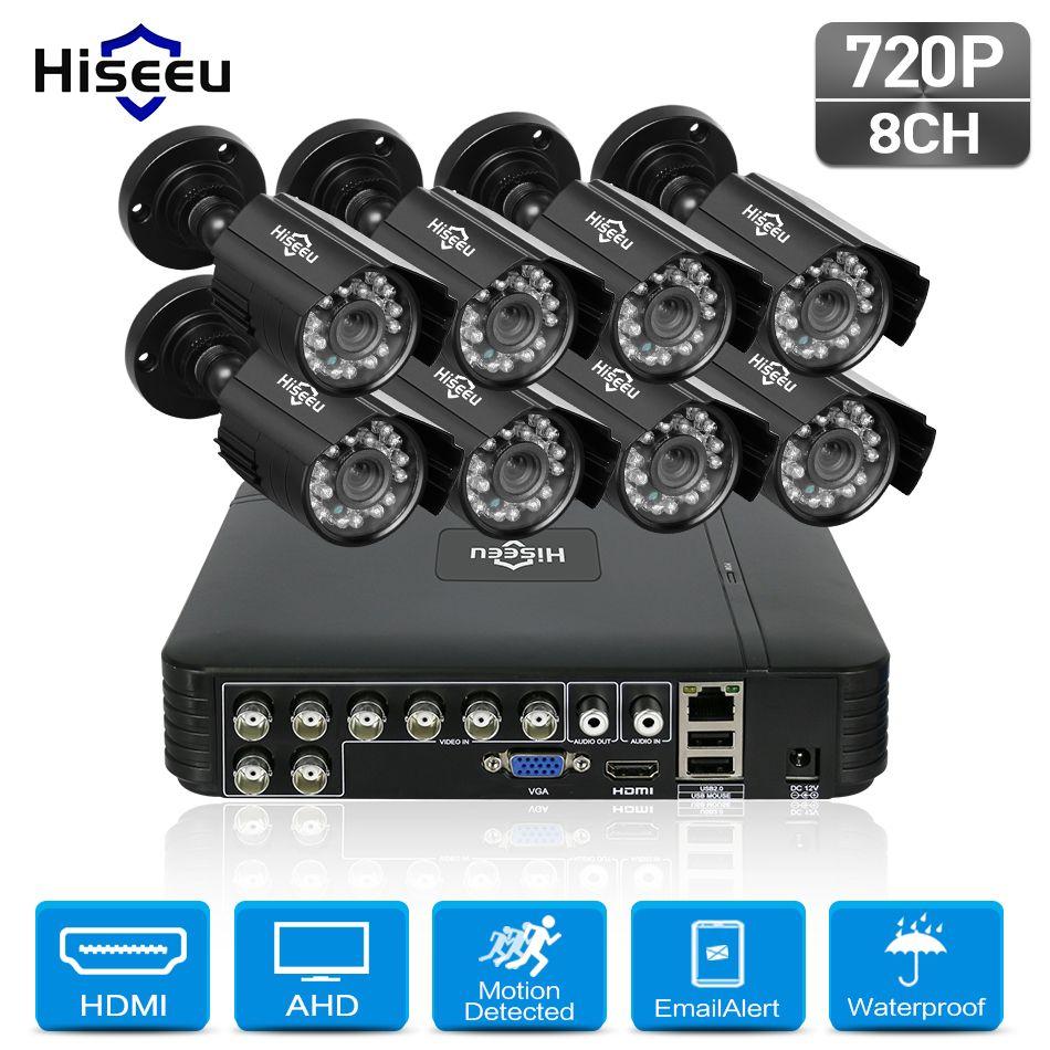 Hiseeu 8CH <font><b>720P</b></font> CCTV Camera system 8pcs 1.0MP waterproof Outdoor Surveillance Security Camera CCTV DVR Kit AHD Camera Set