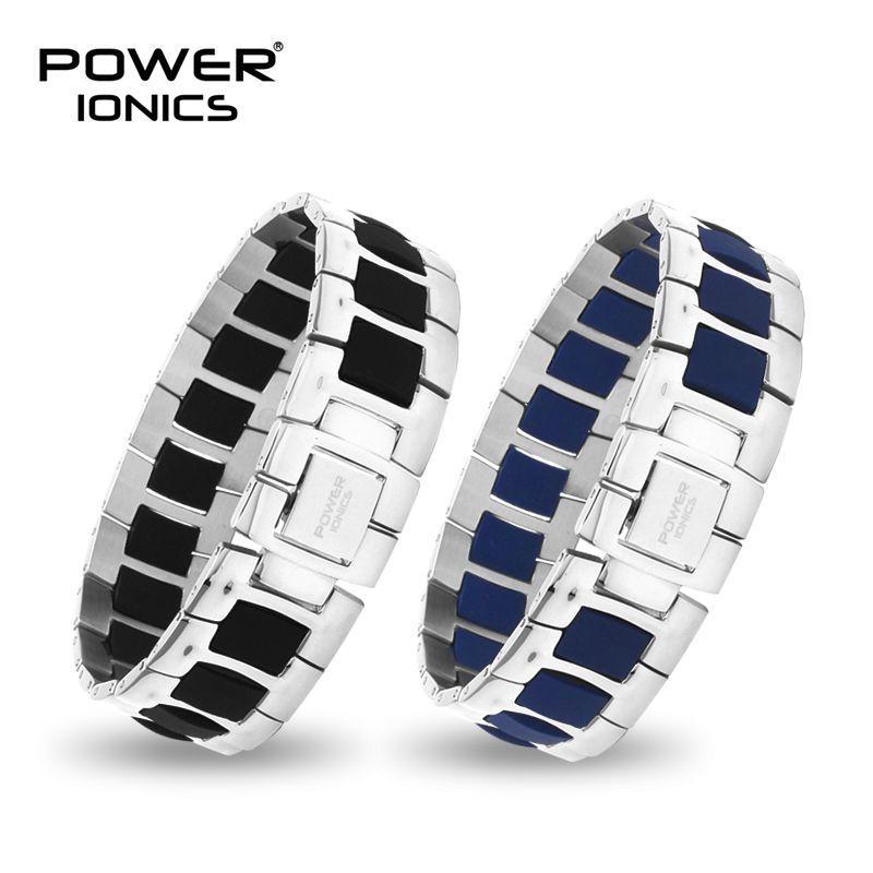 Power Ionischen Mode Schwarz/Blau/Weiß Unisex Titan Ionen Gesundheit Armband Armband PT060