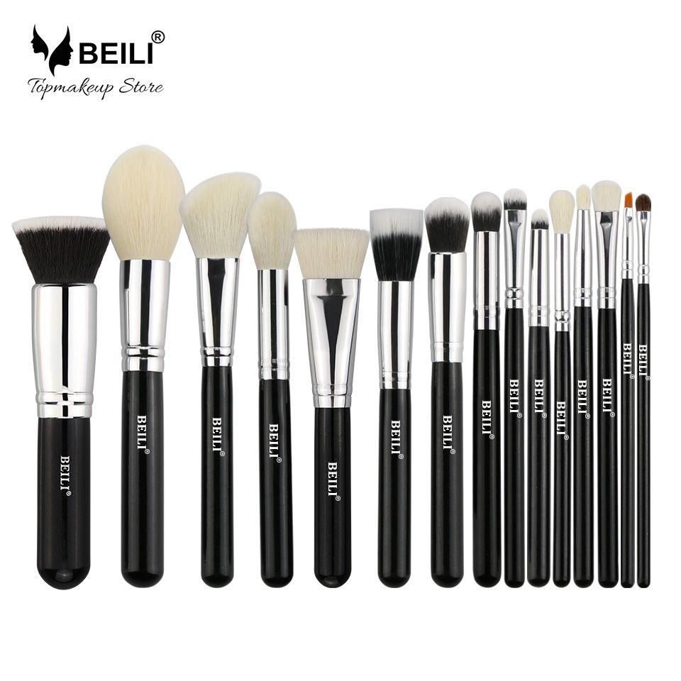 BEILI 15 pcs Noir poils De Chèvre Prime Grand Poudre Fondation fard à joues ombre à paupières Contour Maquillage brosse ensemble