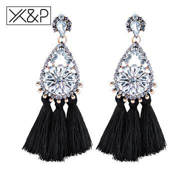 X & P Mode Vintage Gland Alliage Cristal Longue Balancent Boucles D'oreilles pour les Femmes Fille Bohême Boho Mignon Grand Grand de Baisse boucle d'oreille Bijoux