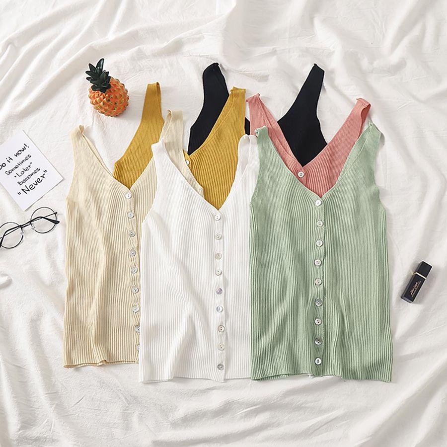 Débardeur court hauts tricoté 2019 Sexy simple boutonnage sans manches Slim col en V mode femmes Stretch blanc noir bouton décontracté hauts