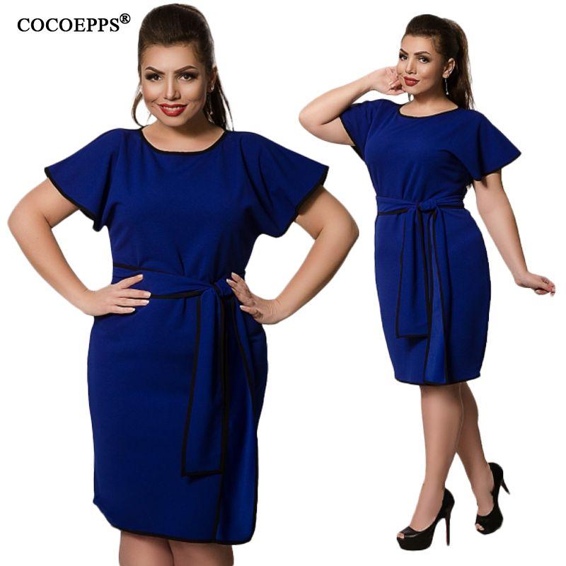 CANCUT 5XL 6XL 2019 grande taille robes pour femmes été grandes tailles élégante robe courte printemps bureau robe de soirée avec ceinture vestidos