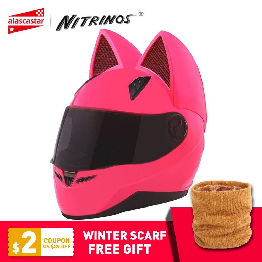 NITRINOS Motorcycle Helmet Women Moto Helmet Moto Ear Helmet Personality Full Face Motor Helmet 4 <font><b>Colors</b></font> Pink Yellow Black White
