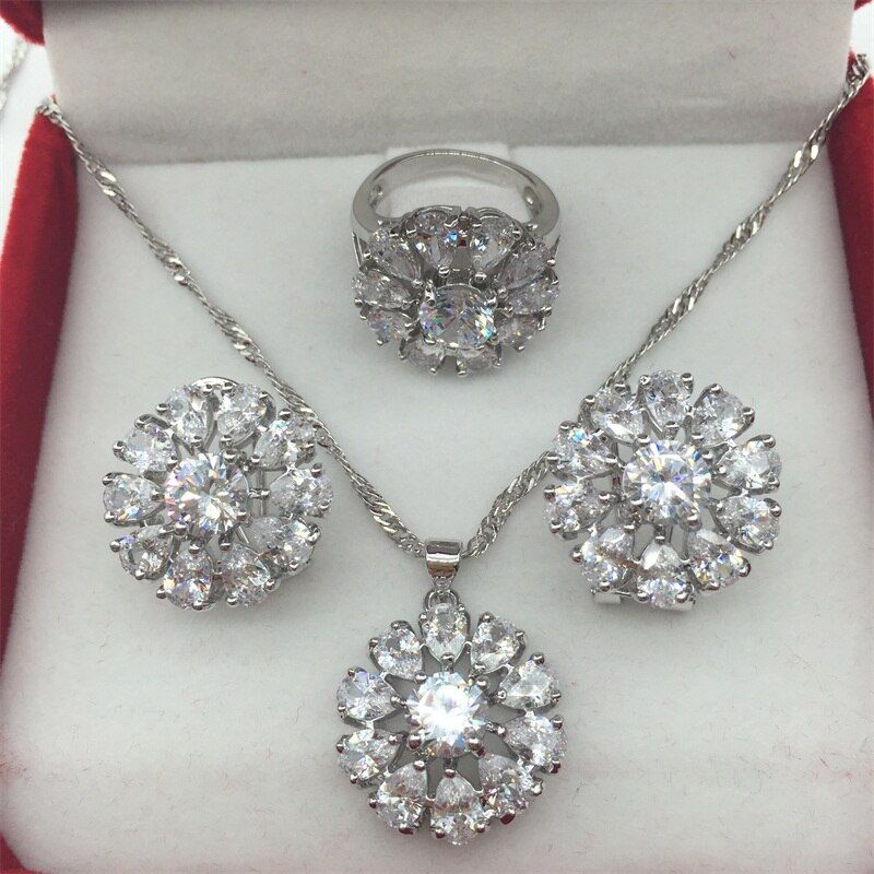 925 Sterling Silver White Jewelry Sets Flower Shaped Earrings/Pendant/Necklace/Rings 6/7/8/9 For Women Free shipping