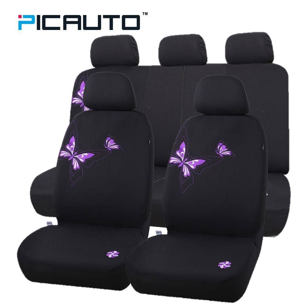 PIC AUTO Seat Covers Embroidery Purple Butterfly Car-Styling Full Set for Car Auto/Truck/Van/SUV Polyester+Airbag Compatible