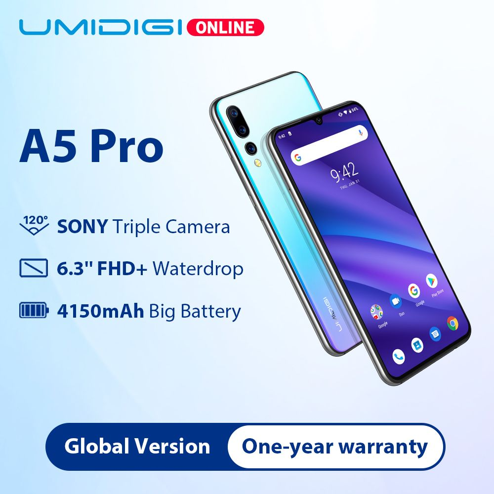 UMIDIGI A5 PRO Global bandes 16MP Triple caméra Android 9.0 Octa Core 6.3 'FHD + Waterdrop écran 4150mAh 4GB + 32GB téléphone Mobile