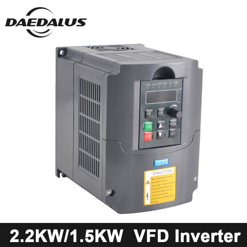 CNC Inverter 2.2KW/1.5KW VFD Variable Frequency Driver 110V/220V Frequency Converter AC/DC Spindle Inverter For Engraver Machine