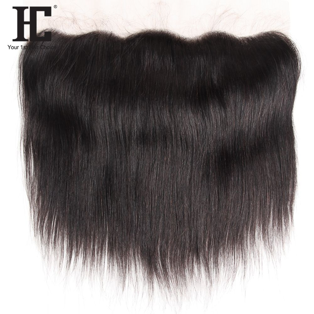 HC Peruvian Straight 13x4 Ear To Ear Pre Plucked Lace Frontal Closure Straight With Baby Hair Remy Human Hair Closure Free Part