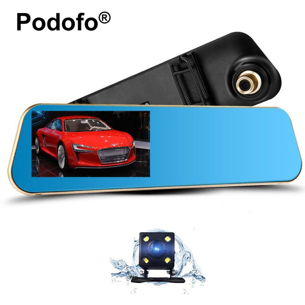 Podofo 4.3 Inch Car Rear View Mirror Dash Cam Auto Video Recorder Registrator Camcorder Dashcam with Dual Lens Car Camera Dvrs