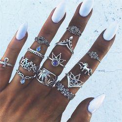 RAVIMOUR 7 Estilo Vintage anillos para las mujeres Boho geométrica flor anillo de cristal conjunto Bohemia Midi dedo joyas Bague Femme