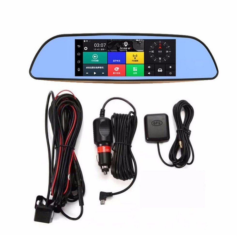 7 Inch HD Full HD 1080P Intelligent Car DVR Rearview Mirror Dash Camera Dual Lens 3G WIFI GPS For Android 5.0