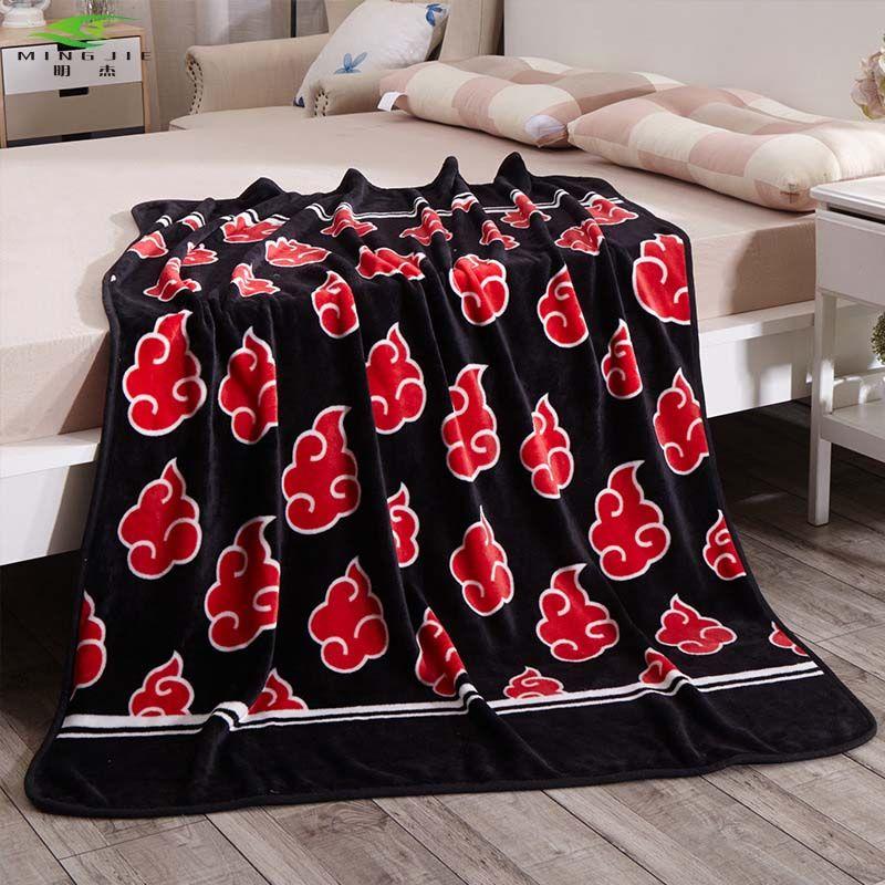 MING JIE nouveau japon Anime Naruto Akatsuki doux chaud corail polaire en peluche jeter couverture tapis 150X120 cm 1 pièce canapé-lit genou couvertures