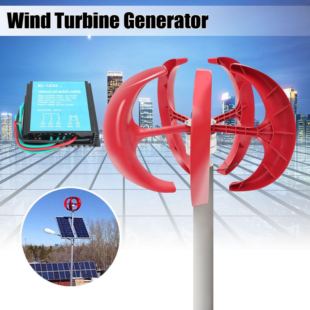 100W 200W 300W 400W Wind Generator Lantern 12V 24V 5 Blades Permanent Magnet Generator Turbine + 600W Wind Controller 12V 24V