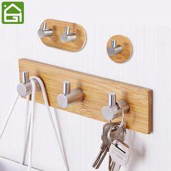 Adhesivo natural Bambú de acero inoxidable gancho de ropa de pared bolsa de auriculares hanger cocina baño puerta toalla inoxidable estante