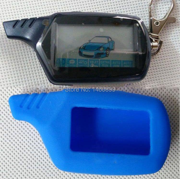 B9 2 voies LCD télécommande porte-clés porte-clés chaîne + housse de clefs en silicone bleu pour système d'alarme de voiture bidirectionnelle Starline B9