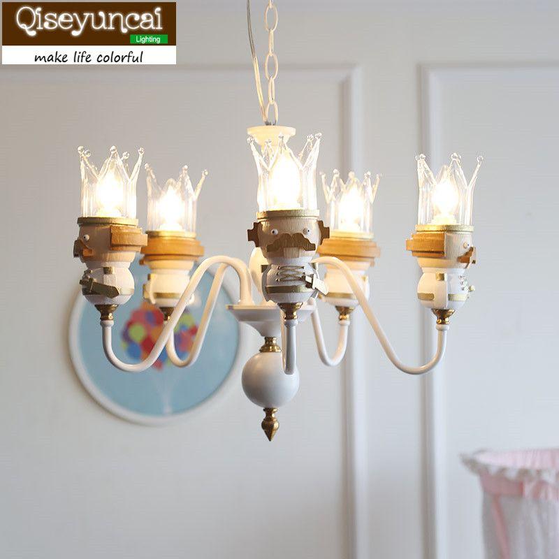 Qiseyuncai Amerikanischen neue könig kinderzimmer Kette Anhänger kronleuchter einfache senden led-lampe junge mädchen schlafzimmer lampe