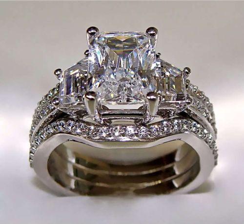 Виктория Вик Принцесса Cut 5ct 5A CZ имитация камни 10kt Белое золото заполнено 3-в-1 Обручение Свадебные набор Колец Размеры 5-11 подарок