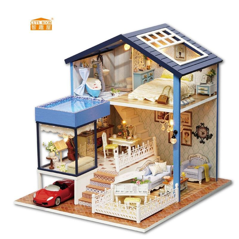 CUTE ROOM New arrival Miniature Wooden Doll <font><b>House</b></font> With DIY Furniture Fidget Toys For Kids Children Birthday Gift Seattle A061