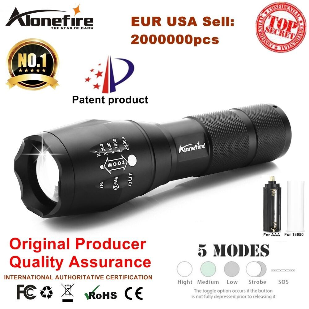 Alonefire E17/G700 XML T6 5000LM Tactical cree led Torch Zoomable Flashlight Torch light for AAA or 18650 Rechargeable battery