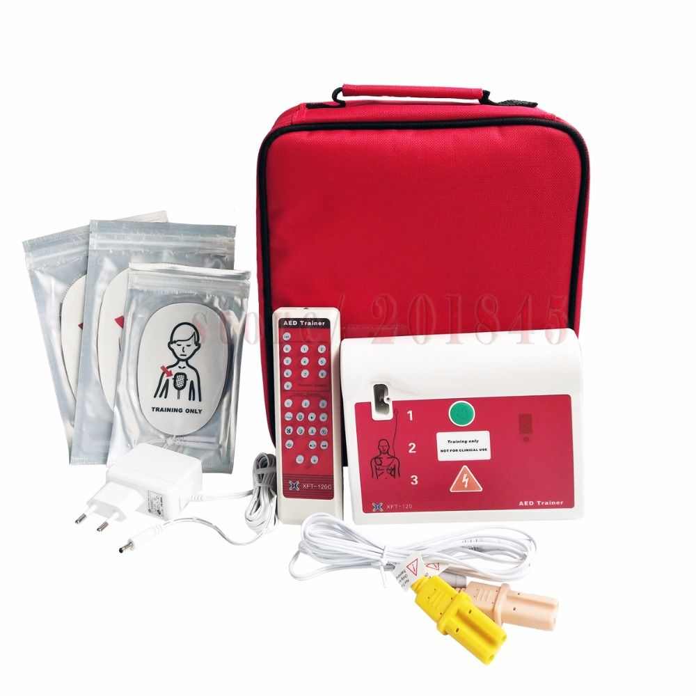 2Pcs/Lot AED Simultor First Aid Training Device In English And Spanish With Electrode Pads And Wire Tactical AED Trainer