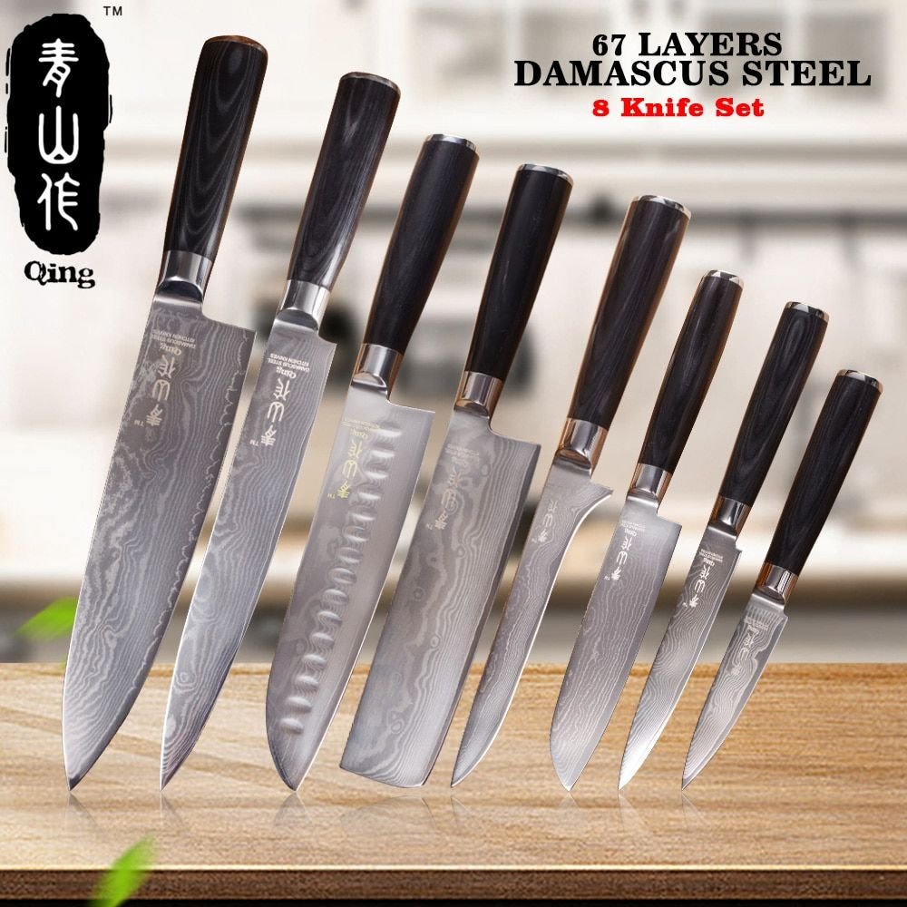 QING 8pcs VG10 Damascus Knives Top Grade Cooking Tools 67 Layers Japanese Damascus Steel 8