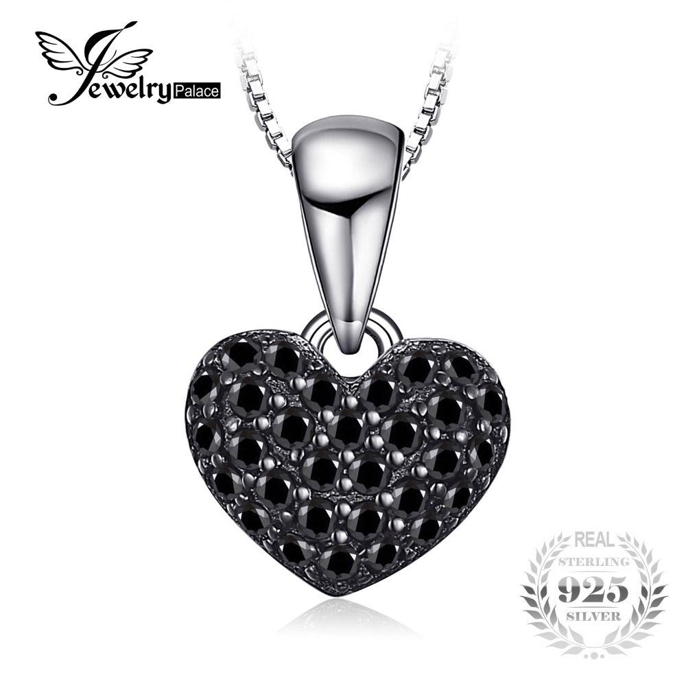 JewelryPalace 0.28ct Natural Negro Espinela Colgantes Del Corazón del Amor Para Las Mujeres de Moda Esterlina del Sólido 925 de Plata-Joyería Sin Cadena