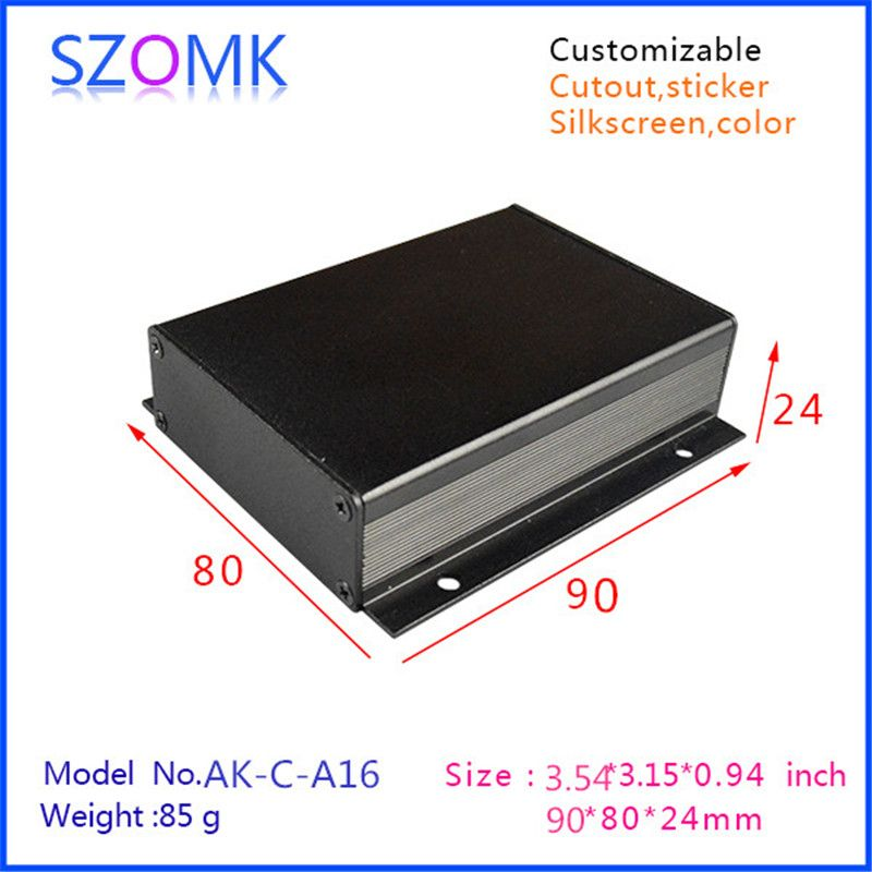 1 piece black diy electrical aluminum enclosure small switch box with anodizing 24x80x90mm