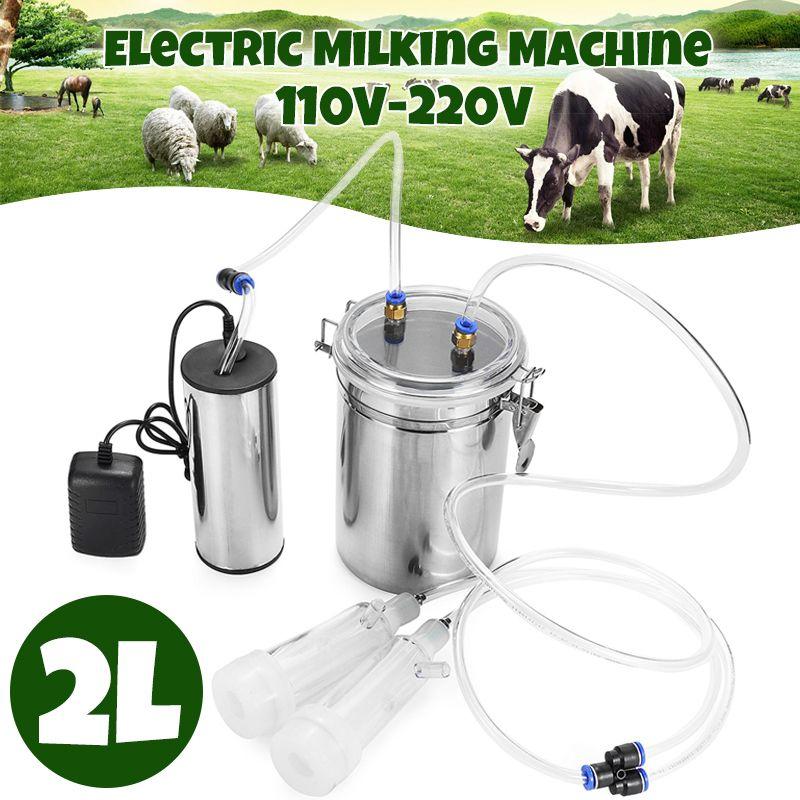 110 V/220 V 2L Edelstahl Elektrische Ewe Melken Maschine Vakuum Pumpe Melker Melken Maschine AU/EU /UNS Stecker
