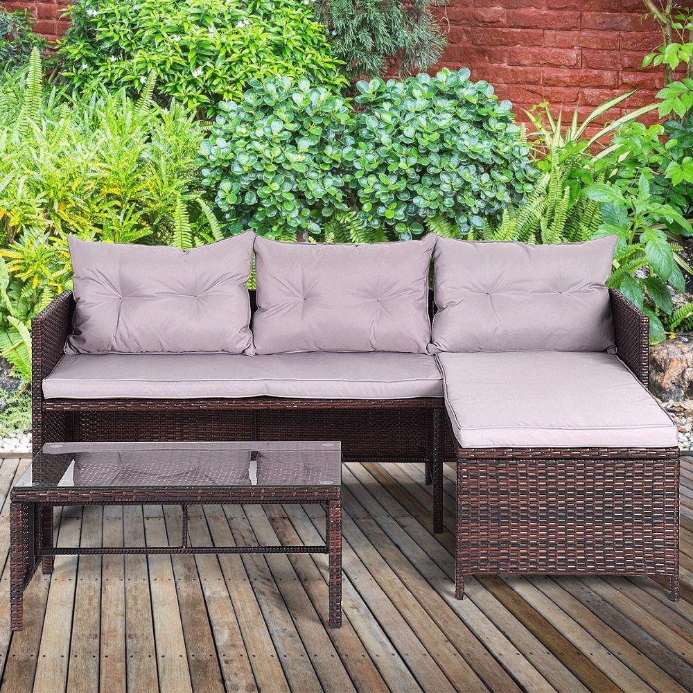 Giantex 3 stücke Outdoor Rattan Möbel Sofa Set Lounge Chaise Sofa ans Kaffee Tisch Gepolsterten Terrasse Garten Möbel HW58535