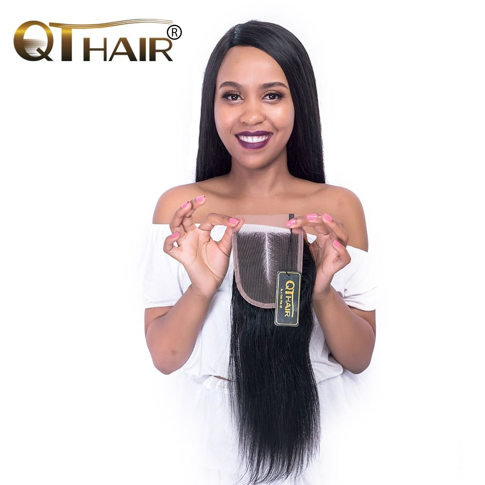 4x4 Swiss Lace Middle Part Peruvian Closure Straight Remy Human Hair Natural Black Take Color Well Fast Ship 8-20 Inch QThair