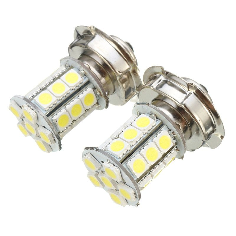 2Pcs  12V AC P26 S 24 SMD LED White Car Motorbike Motorcycle Headlight Car Bulb Lamp