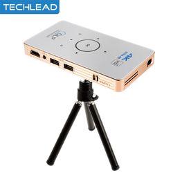 C6 Mini DLP Proyektor Android 5.1 Quad Inti Televisi Kotak Ganda Tali 5 GHz HD Bluetooth HDMI Portabel Media Pemutar dengan 5000 MAh Baterai