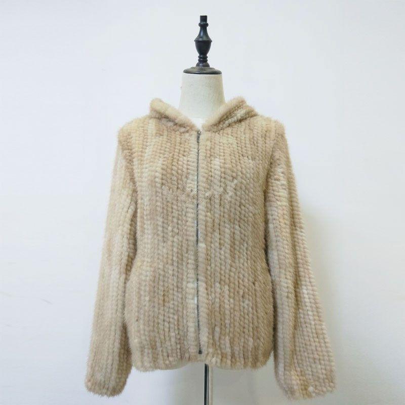 natural fur coat with hood real mink fur jacket knitted warm winter fur coat for women beige gray color 60cm long K127