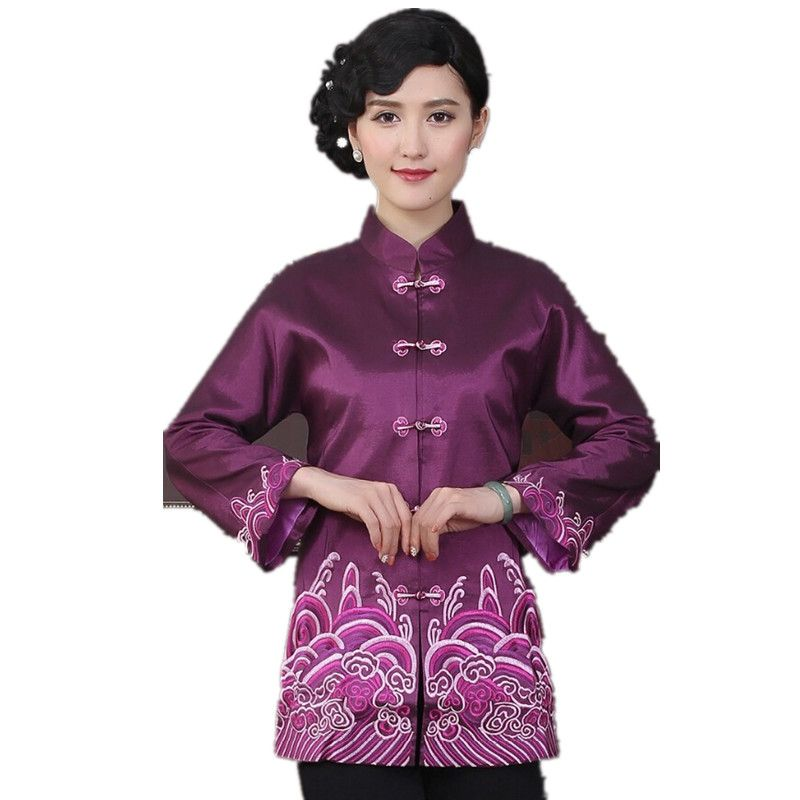 High Fashion Purple Chinese Tradition Women's Embroider Coats Jackets Outerwear National Women Tang Suit Jacket M L XL XXL 3XL