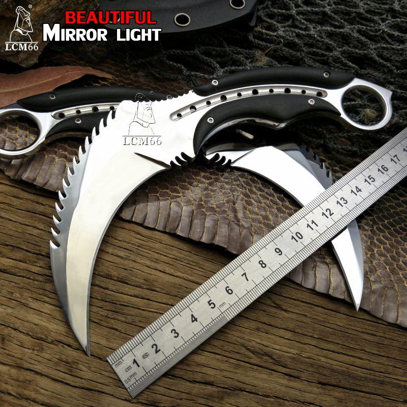 LCM66 miroir lumière scorpion griffe couteau extérieur camping jungle survie bataille karambit lame fixe couteaux de chasse auto défense