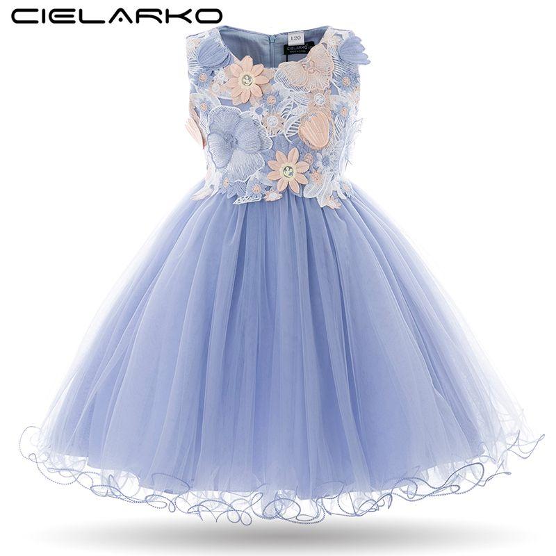 Cielarko Enfants Filles Fleur Robe Bébé Fille Papillon Fête D'anniversaire Robes Enfants Fantaisie Princesse robe de Bal De Mariage Vêtements