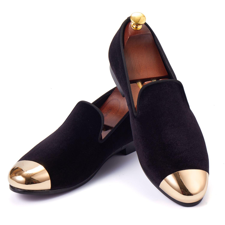 Harpelunde hombres clásicos vestido Zapatos terciopelo negro Mocasines con tapa de metal toe plano caliente Zapatos tamaño 6-14