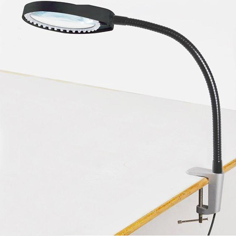 Lectura de escritorio Lupa 8X Suave Varilla Regulable Reparación Inspección Luz de Trabajo Lámpara de Mesa Lupa LED Lupa Lupas