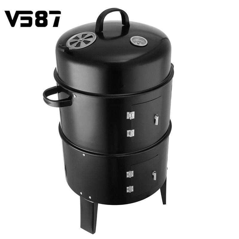 3 in 1 BBQ Grill Roaster Smoker Steamer Steel Barbecue Grill Portable Outdoor Camping Charcoal Stove Kitchen Cooking Tools