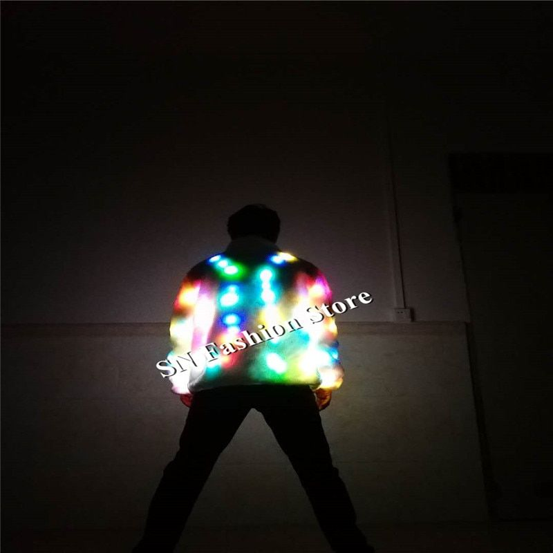 LZ05 LED costumes luminous clothes Bar dance show star nightclub performance colorful light mens dj model stage wears robot