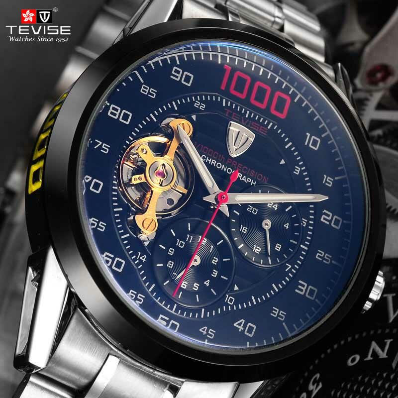 Tevise Mechanical Watches Fashion Luxury Relogio Men's Automatic Watch Clock Male Business Waterproof Wristwatch Montre Homme